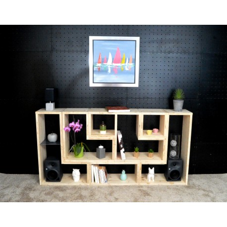 BORDEAUX / meuble bois massif / déco / naturel / étagère /bibliothèque, meuble à monter soi-même