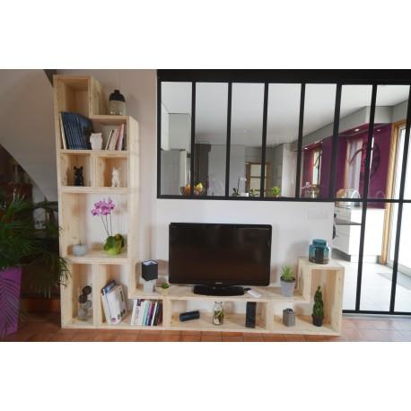 NANTES / meuble bois massif / déco / naturel / étagère /bibliothèque