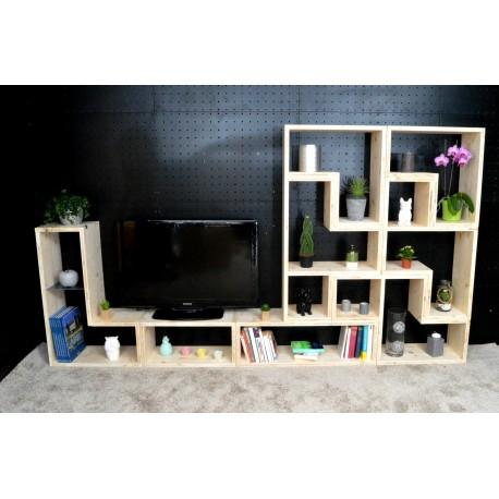 RENNES / meuble bois massif / déco / naturel / étagère /bibliothèque, meuble à monter soi-même
